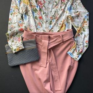 C by One Pants - C by One pink cropped slacks with wrap belt. NWOT.